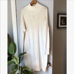 Ann Taylor white alpaca & wool Blend sweater dress